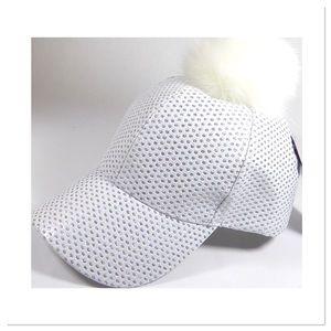 White Sparkly Pom Pom Cap